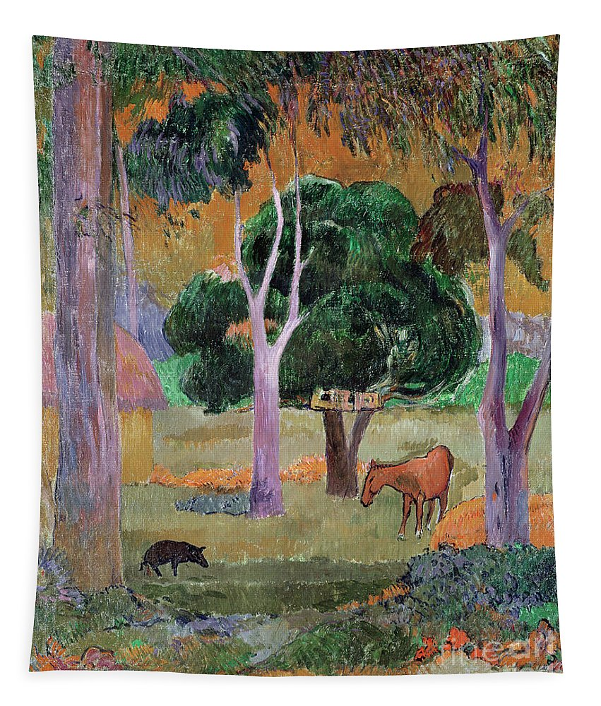 Dominican Landscape Or Tapestry featuring the painting Dominican Landscape by Paul Gauguin