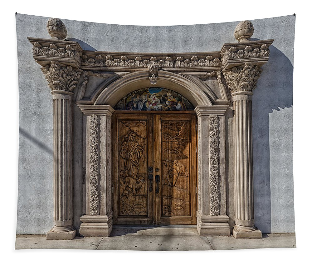 Texas Tapestry featuring the photograph Doorway Of The Santa Teresa De Jesus Church by Mountain Dreams