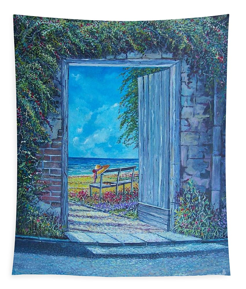 Original Painting Tapestry featuring the painting Doorway To ... by Sinisa Saratlic
