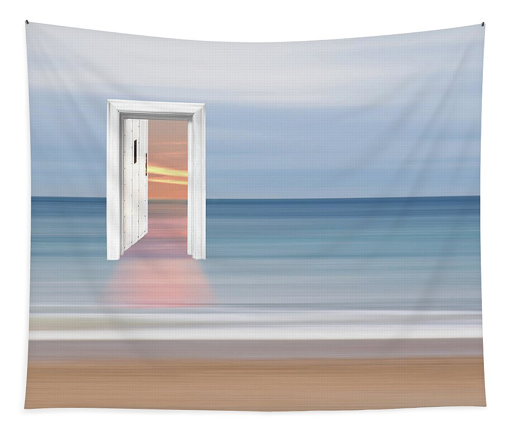 Surreal Seascape Tapestry featuring the photograph Doorway To The Future by Gill Billington