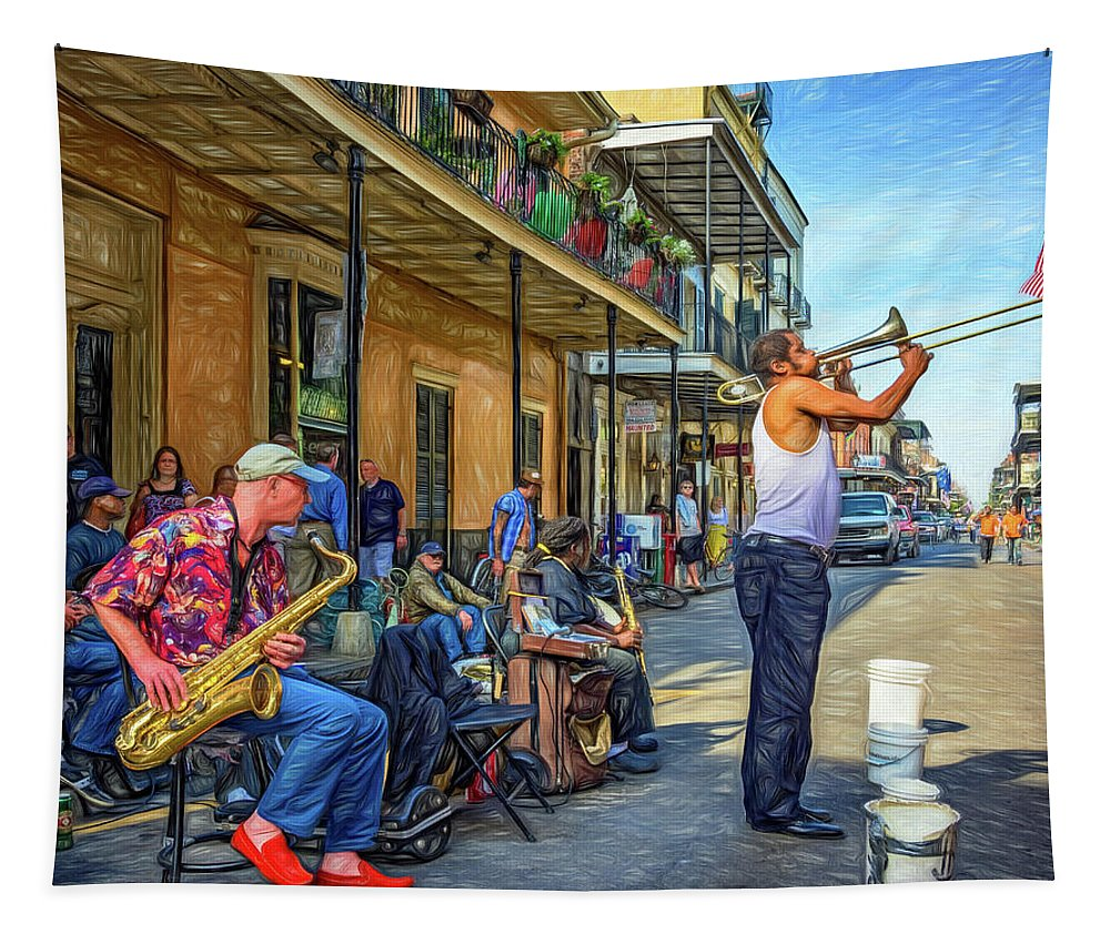 French Quarter Tapestry featuring the photograph Doreen's Jazz New Orleans - Paint by Steve Harrington