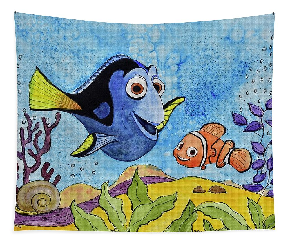 Linda Brody Tapestry featuring the painting Dori And Nemo by Linda Brody
