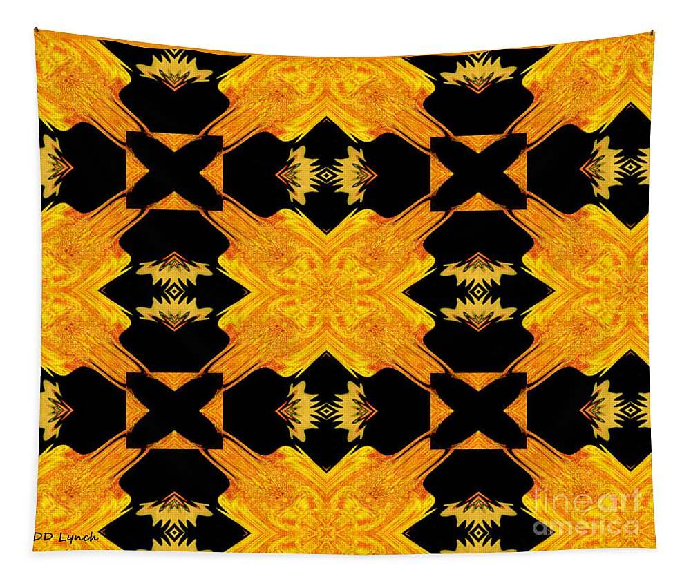 Yellow Tapestry featuring the digital art Double Crossed by Debra Lynch