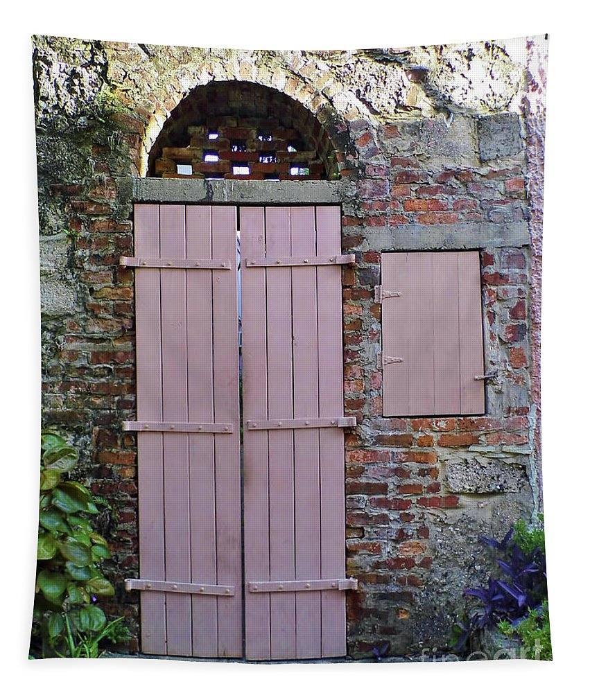 Door Tapestry featuring the photograph Double Doors And A Window by D Hackett