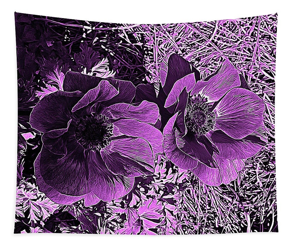 Poppy Tapestry featuring the digital art Double Poppies In Purple by Marian Bell