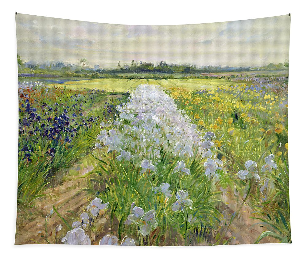 Iris; Field; Flower; Landscape; Irises; Flowers; Grass; Fields; Leaf; Leafs; Tree; Trees Tapestry featuring the painting Down The Line by Timothy Easton