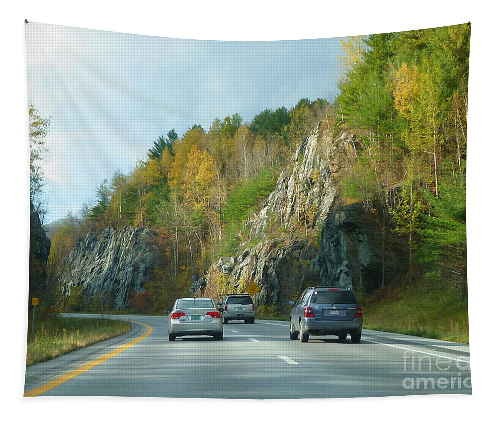 Vermont Tapestry featuring the photograph Down The Road On Route 89 by Deborah Benoit