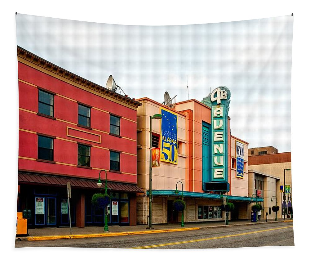 Anchorage Tapestry featuring the photograph Downtown Anchorage Alaska by Mountain Dreams