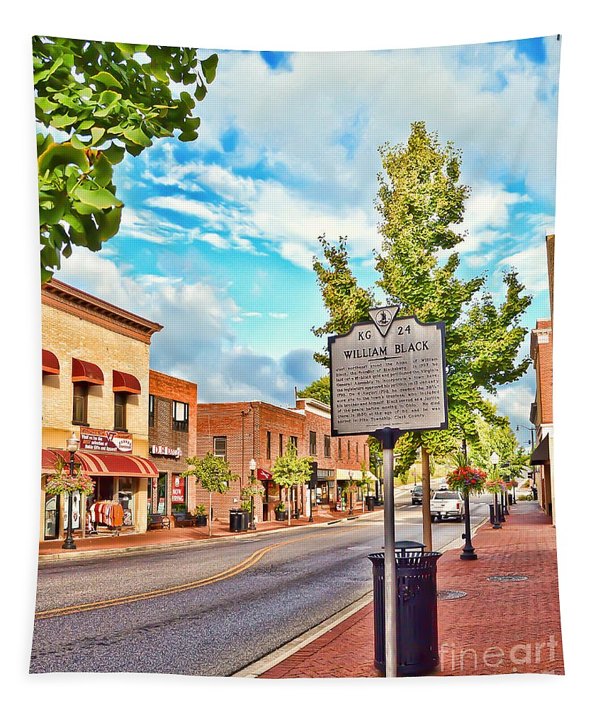 Downtown Blacksburg Virginia Tapestry featuring the photograph Downtown Blacksburg With Historical Marker by Kerri Farley