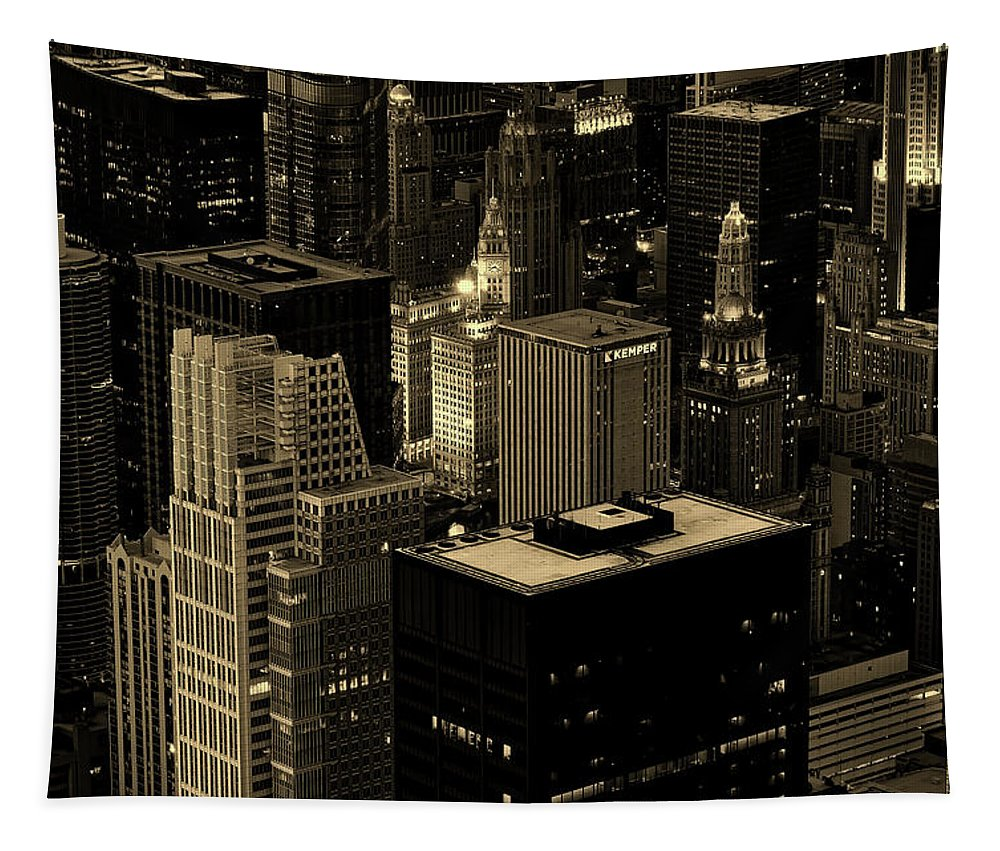 Chicago Tapestry featuring the photograph Downtown Chicago At Sunset by Alex Shutin