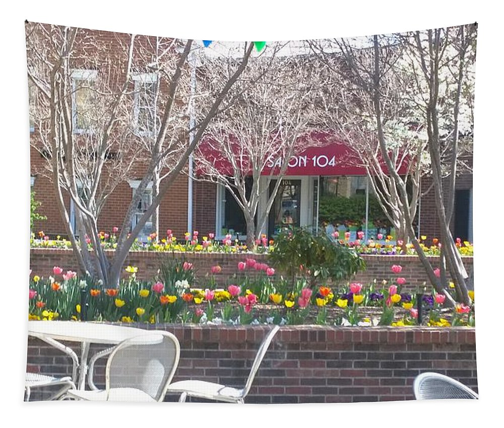Spring Tapestry featuring the photograph Downtown, Hendersonville, Nc by Gayle Miller