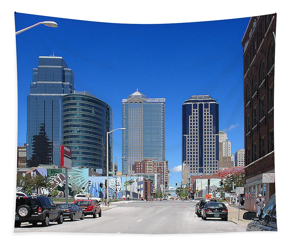 City Tapestry featuring the photograph Downtown Kansas City by Steve Karol