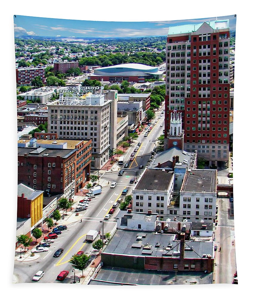 New Hampshire Tapestry featuring the photograph Downtown Manchester by Anthony Dezenzio