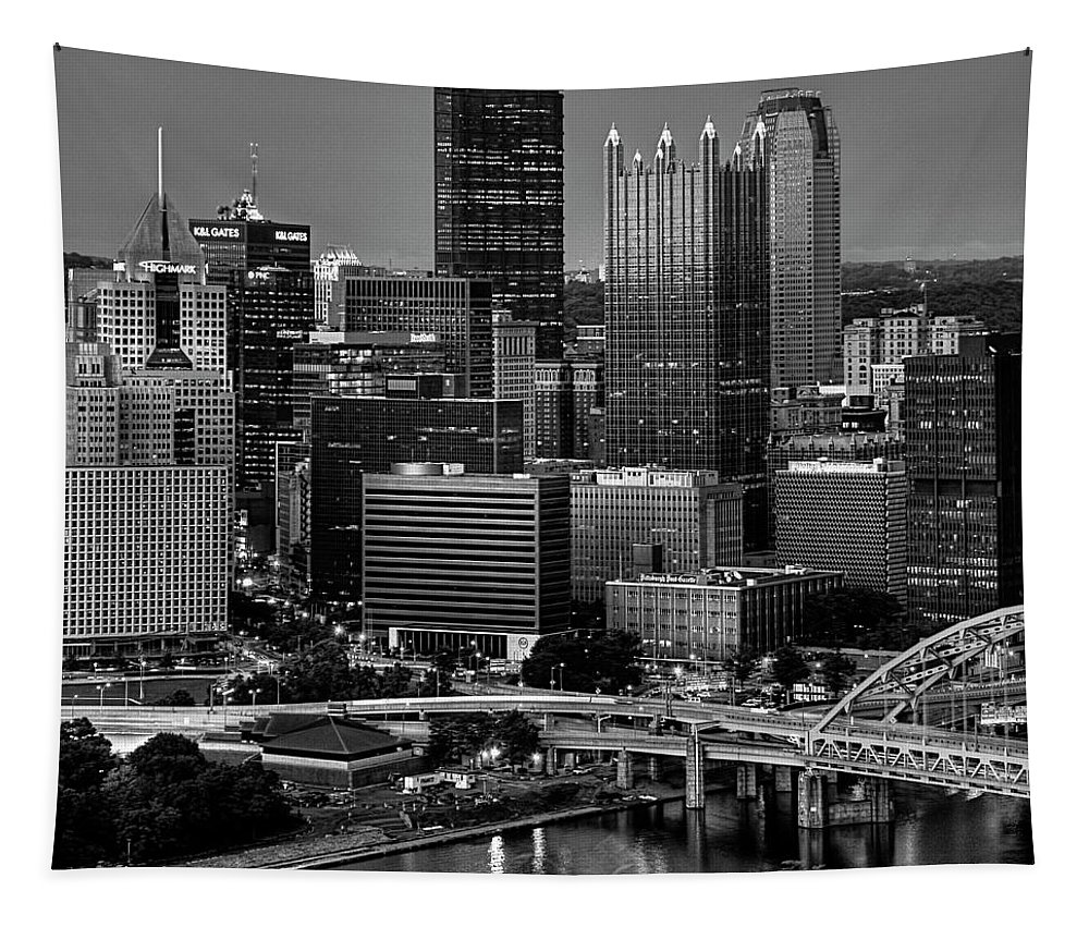 Pittsburgh Tapestry featuring the photograph Downtown Pittsburgh At Twilight - Black And White by Mitch Spence
