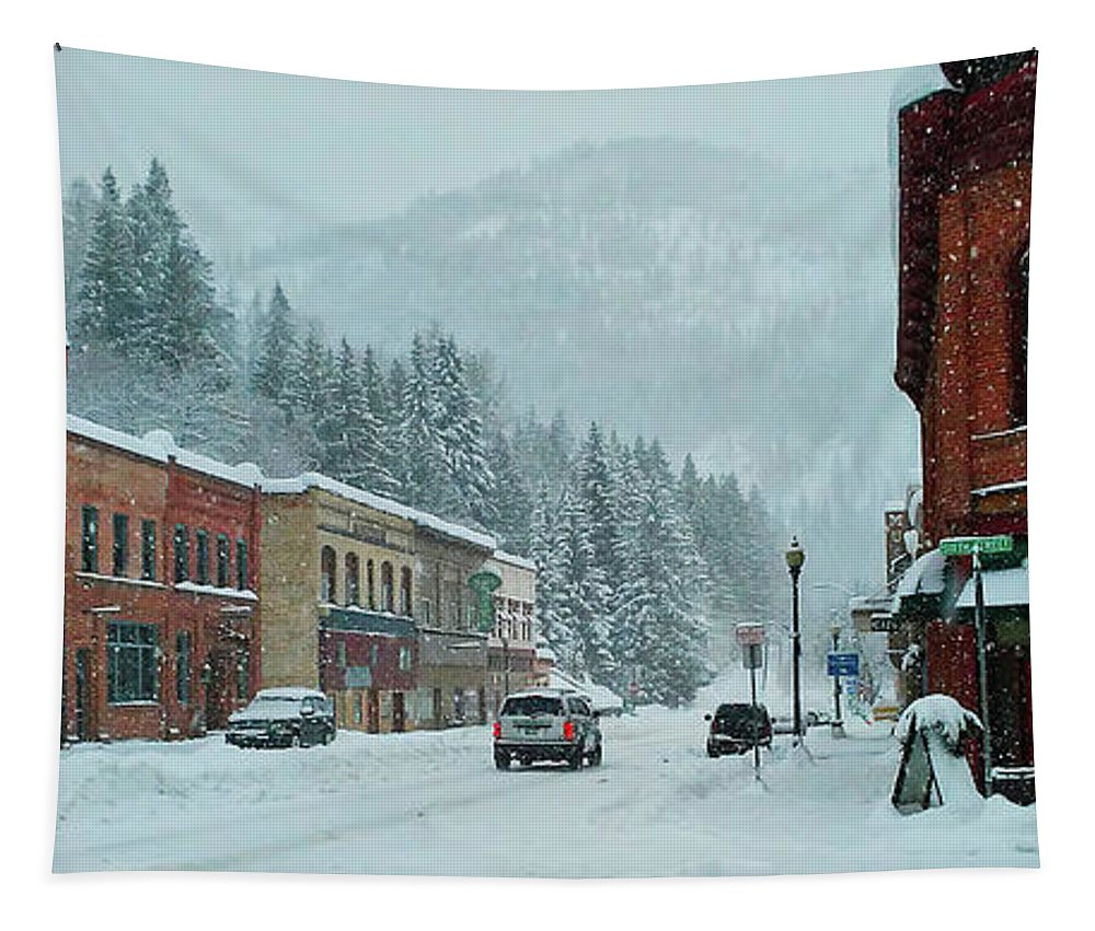 Scott Mcdaniel Tapestry featuring the photograph Downtown Wallace In Winter 2017 by Scott McDaniel