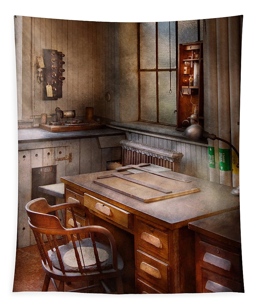 Suburbanscenes Tapestry featuring the photograph Drafting - Where Ideas Come From by Mike Savad