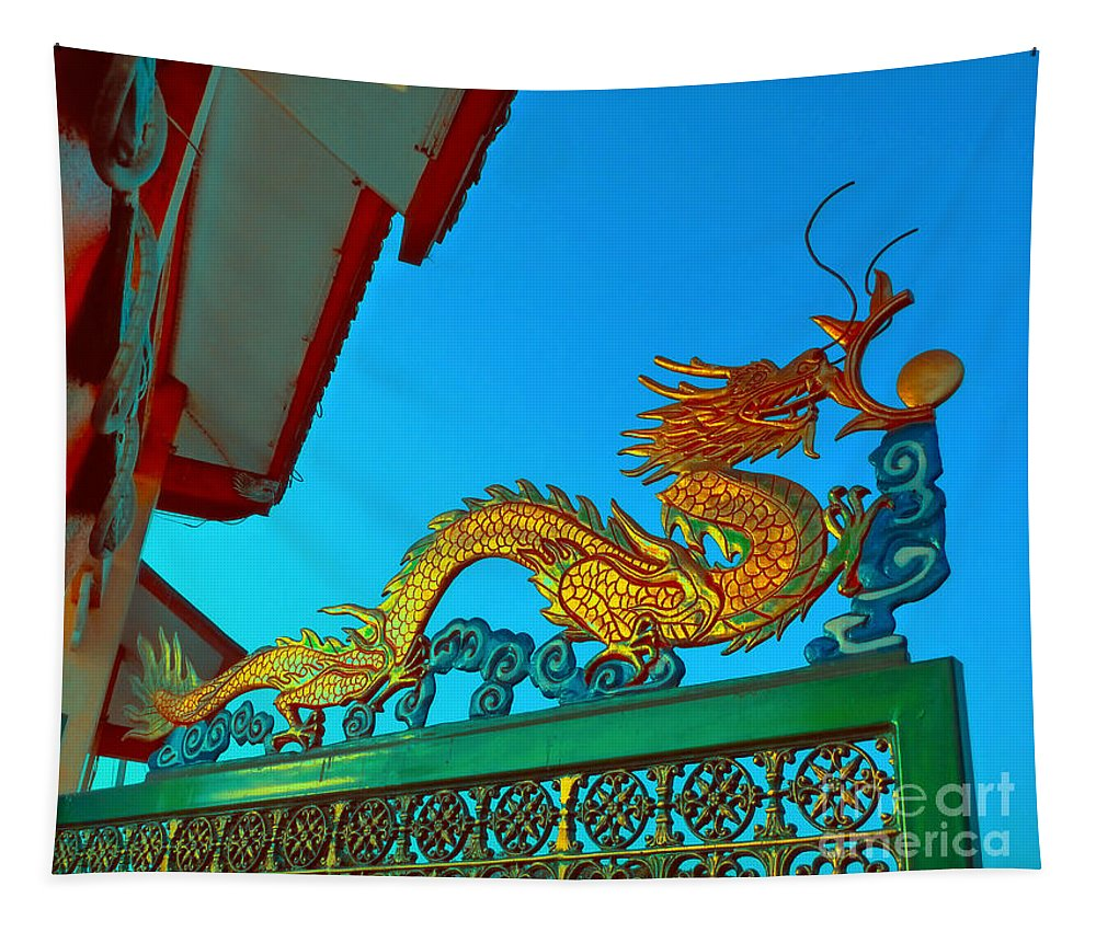 Dragon Tapestry featuring the digital art Dragon At The Gate by Ian Gledhill