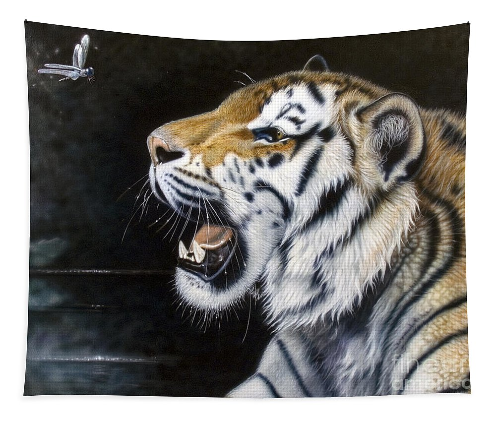 Tiger Tapestry featuring the painting Dragonfly by Sandi Baker