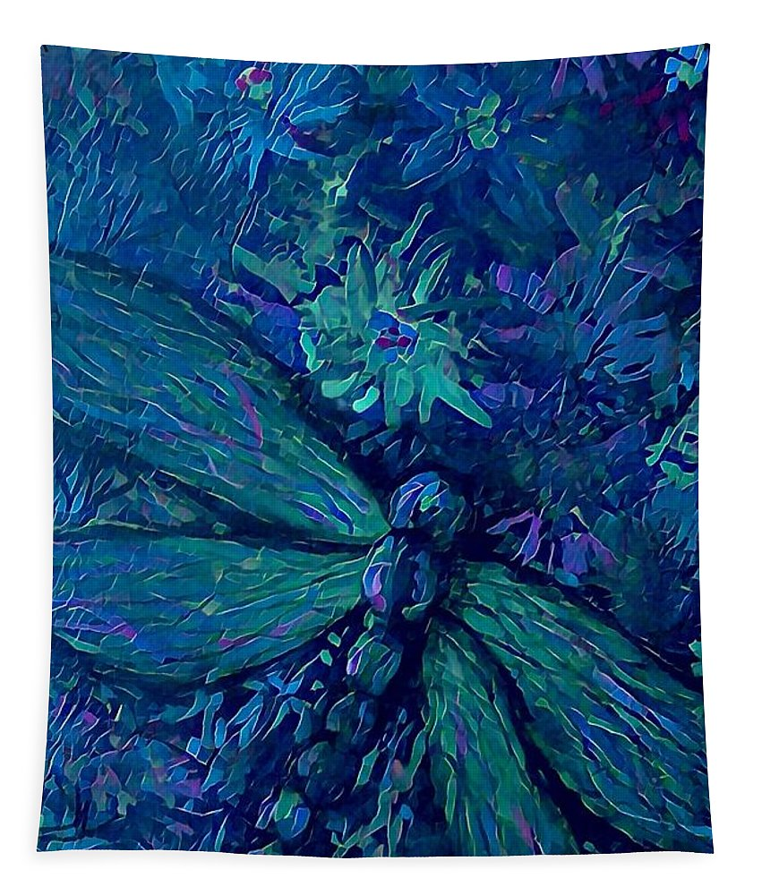 Dragonflies Tapestry featuring the digital art Dragonfly Series C by Megan Walsh