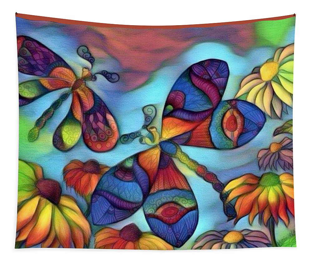 Dragonflies Tapestry featuring the digital art Dragons For Children 1 by Megan Walsh