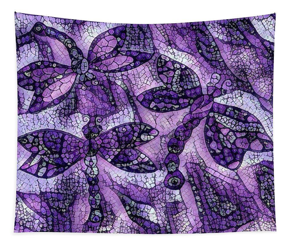 Dragonflies Tapestry featuring the digital art Dragons In Lavender Mosaic by Megan Walsh
