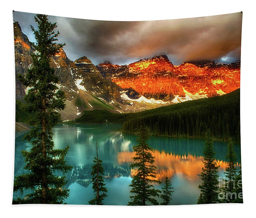 Moraine Lake Tapestry featuring the photograph Drama Of The Canadian Rockies by Bob Christopher