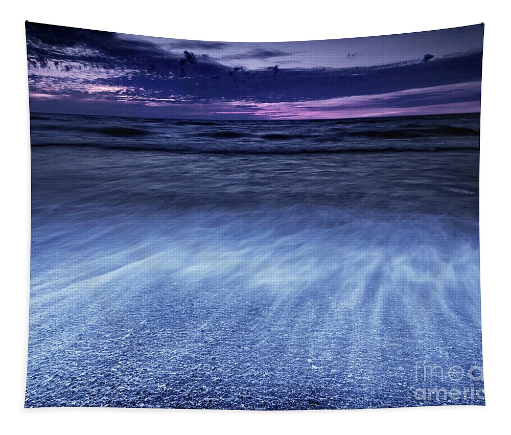 Lake Tapestry featuring the photograph Dramatic Sunset Scenery Of Lake Huron by Awen Fine Art Prints