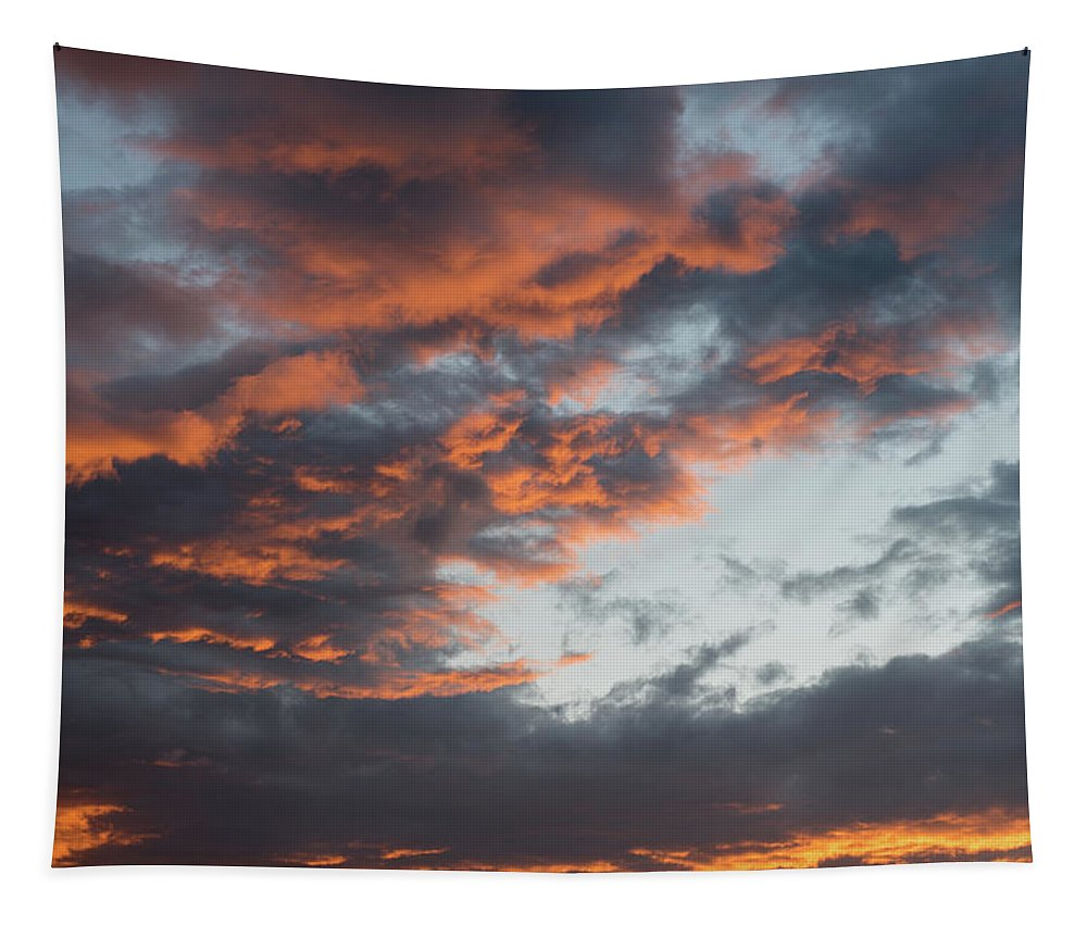 Stormy Clouds Tapestry featuring the photograph Dramatic Sunset Sky With Orange Cloud Colors by Michalakis Ppalis