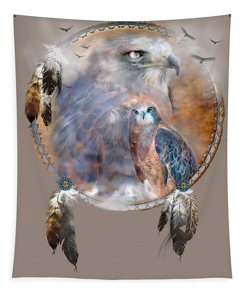 Carol Cavalaris Tapestry featuring the mixed media Dream Catcher - Hawk Spirit by Carol Cavalaris