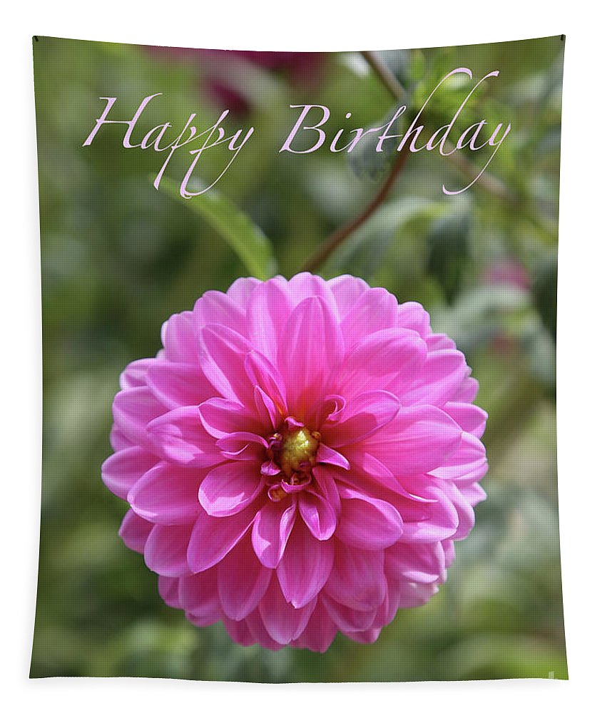 Dahlia Tapestry featuring the photograph Dream Dahlia Birthday Card by Carol Groenen