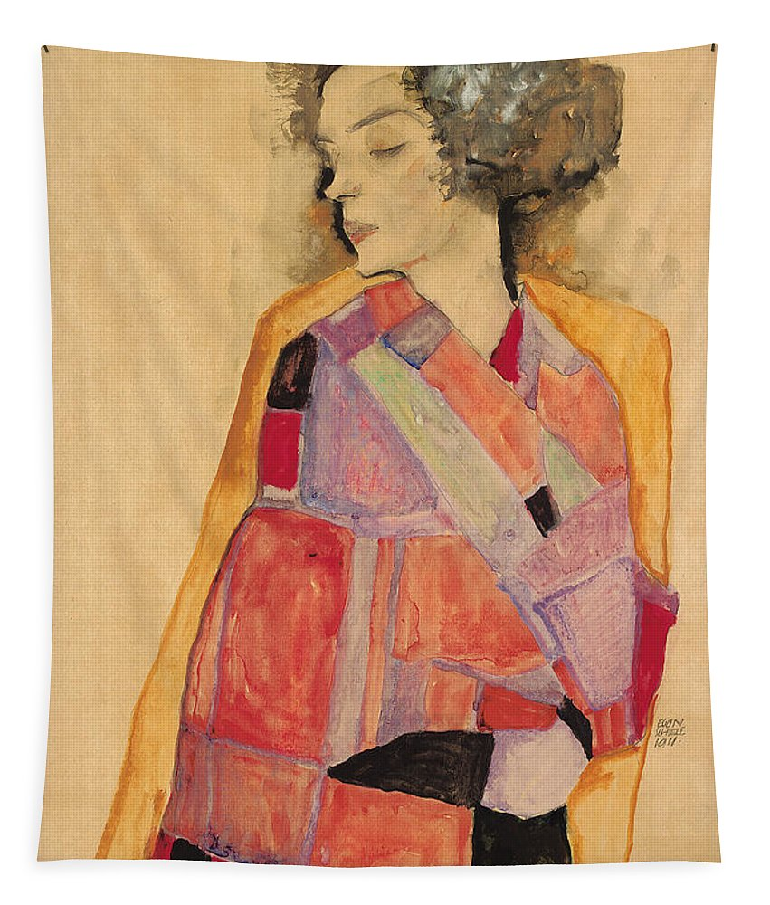 Schiele Tapestry featuring the painting Dreaming Woman by Egon Schiele
