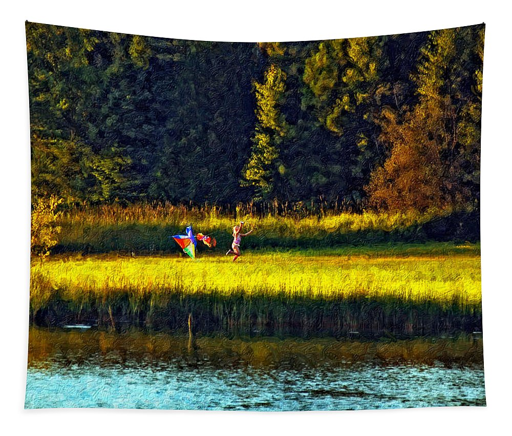 Kids Tapestry featuring the photograph Dreams Can Fly Impasto by Steve Harrington