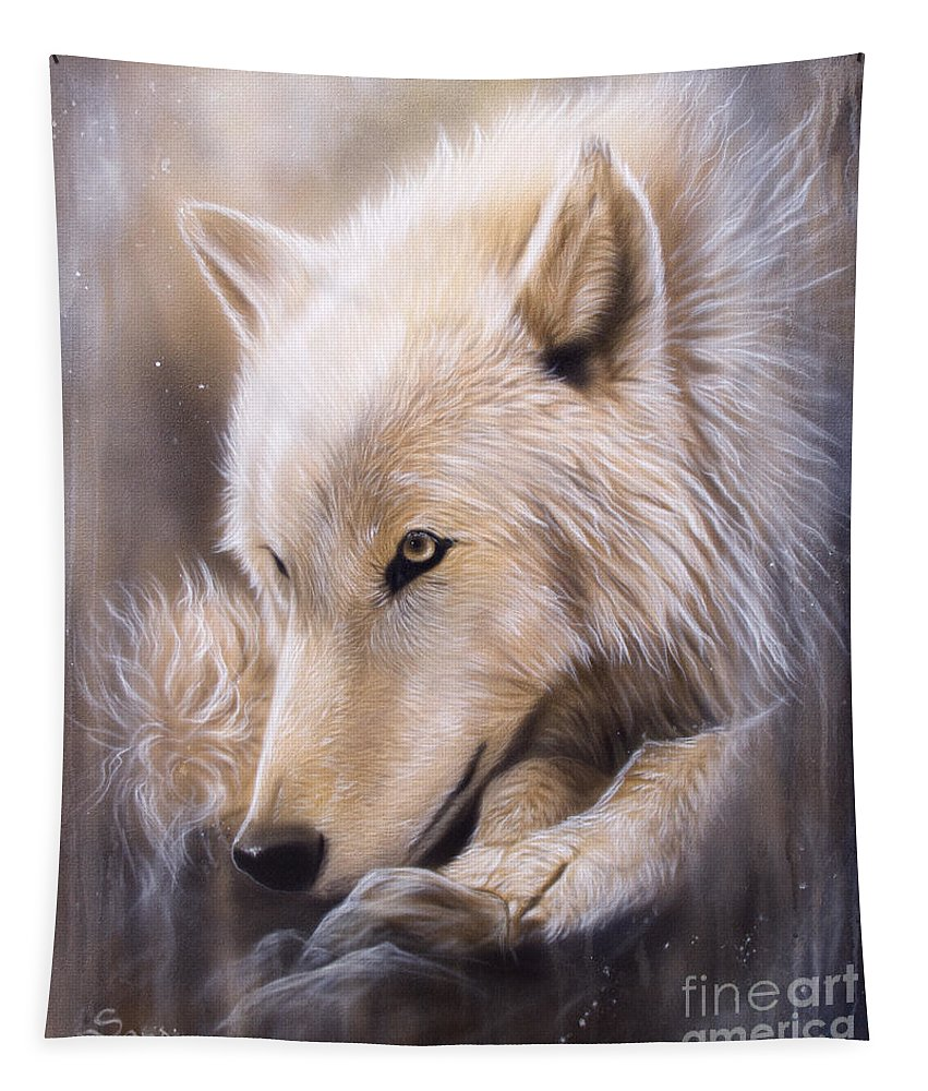 Wildlife Art Tapestry featuring the painting Dreamscape - Wolf by Sandi Baker