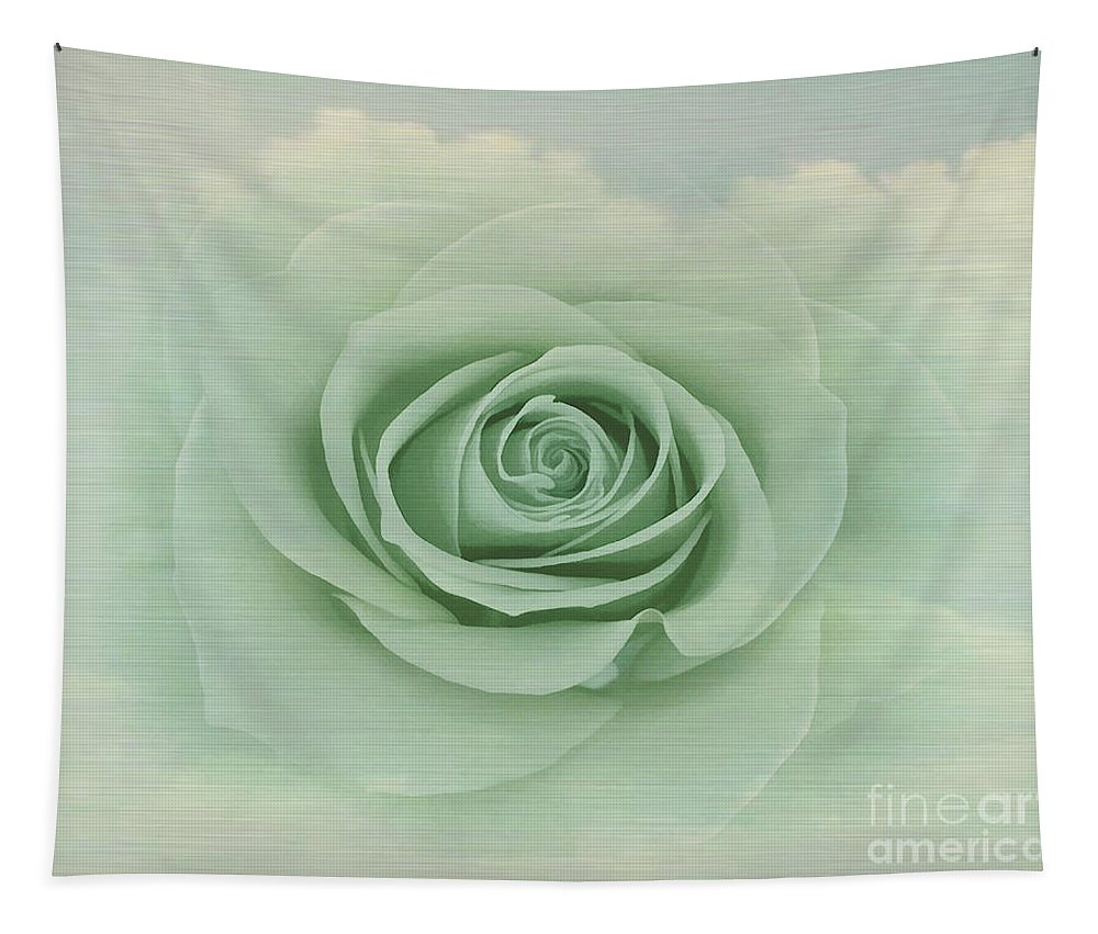 Dreamy Tapestry featuring the painting Dreamy Vintage Floating Rose by Judy Palkimas
