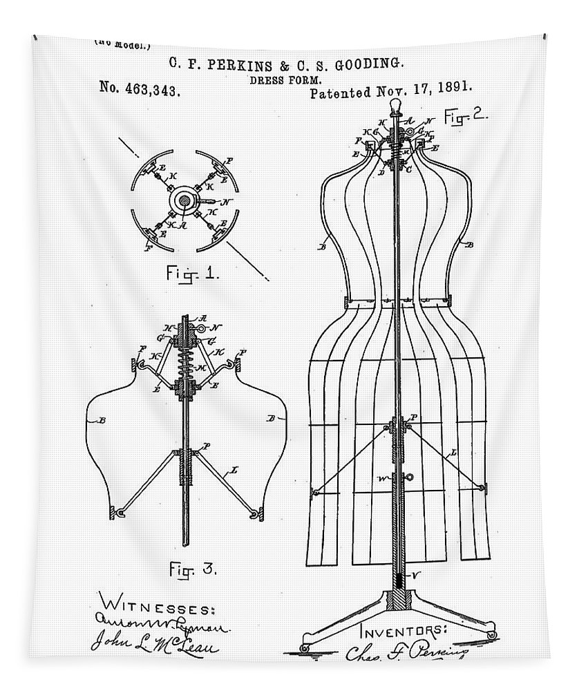 Tailor Tapestry featuring the digital art Dress Form Patent 1891 by Bill Cannon