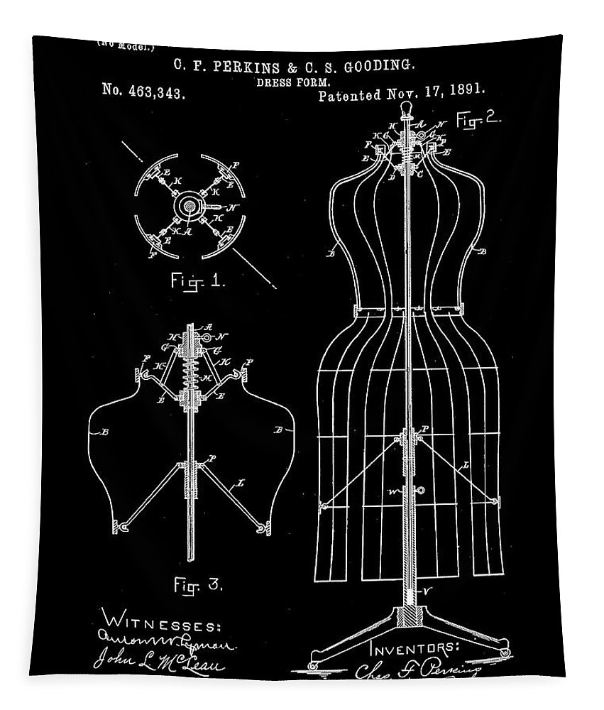 Tailor Tapestry featuring the digital art Dress Form Patent 1891 Black by Bill Cannon