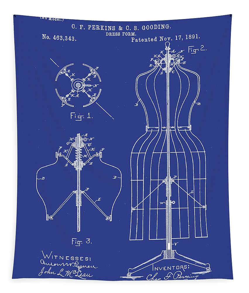 Tailor Tapestry featuring the digital art Dress Form Patent 1891 Blue by Bill Cannon