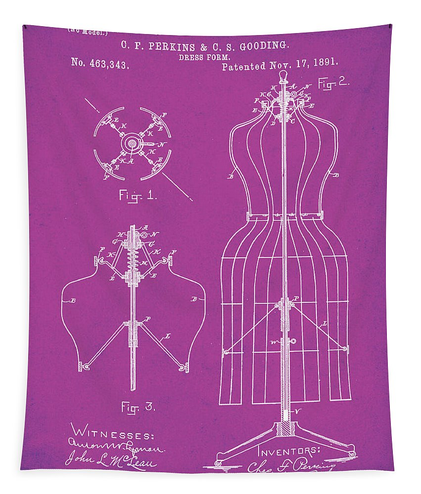 Tailor Tapestry featuring the digital art Dress Form Patent 1891 Pink by Bill Cannon