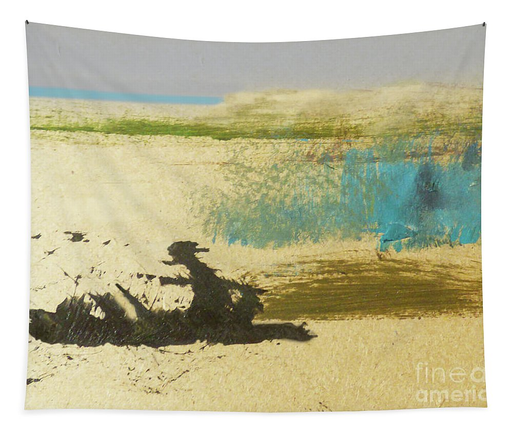 Abstract Tapestry featuring the mixed media Driftwood On The Beach by Sharon Eng