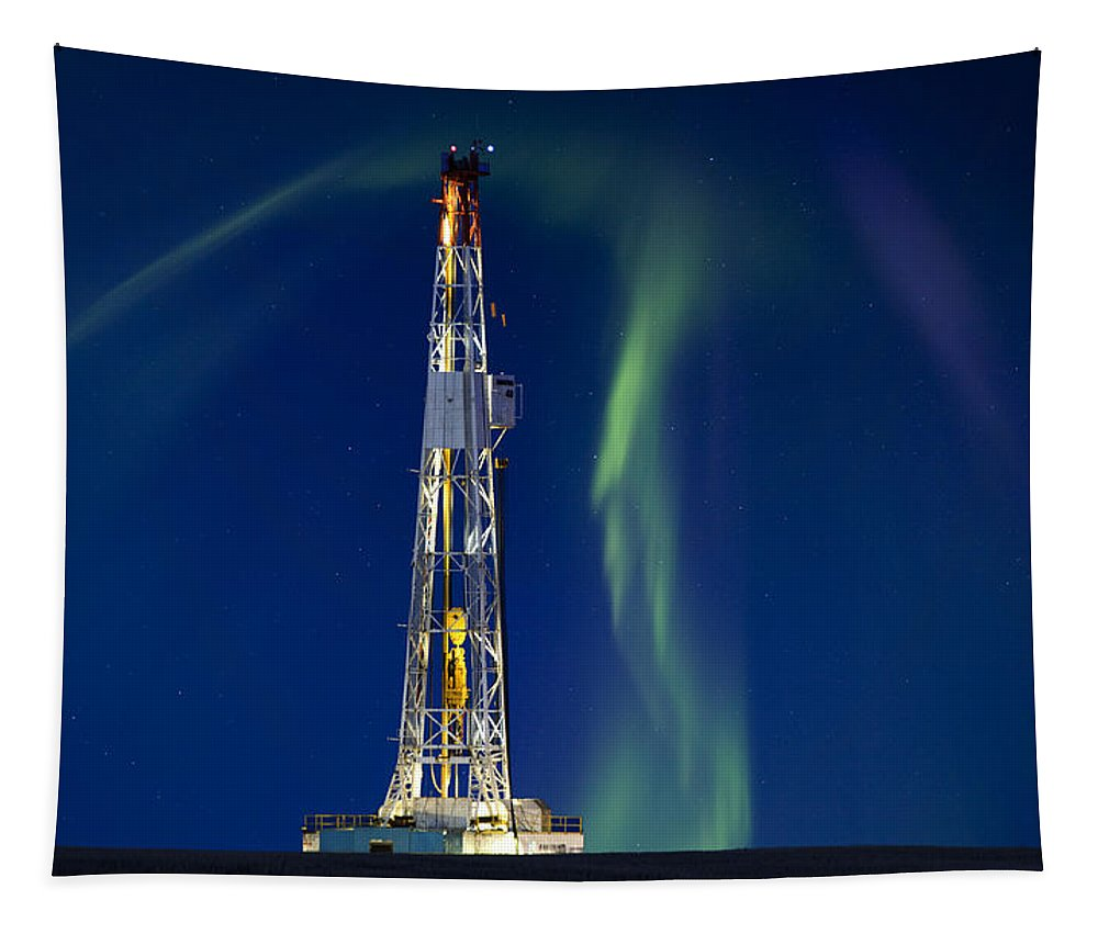 Platform Tapestry featuring the photograph Drilling Rig Saskatchewan by Mark Duffy