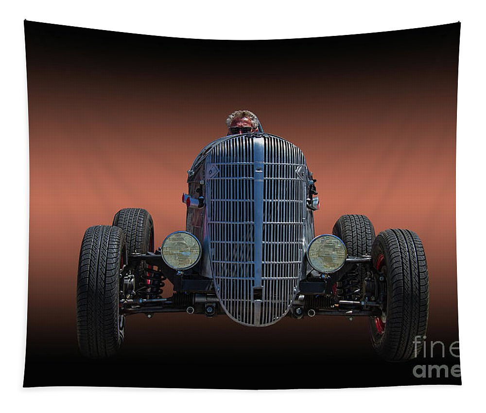 Race Tapestry featuring the photograph Driver And His Race Car by Nick Gray
