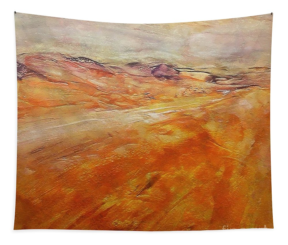 Abstract Landscape Tapestry featuring the painting Drought by Dragica Micki Fortuna