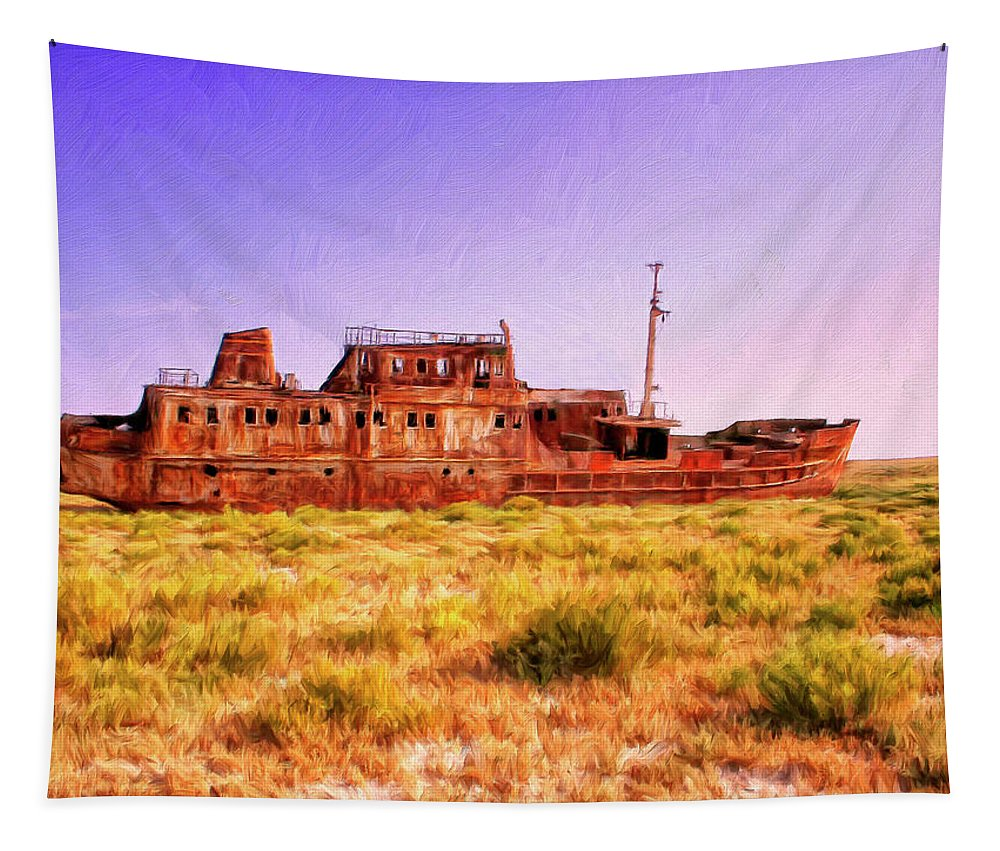 Rusty Hulk Tapestry featuring the painting Dry Dock by Dominic Piperata