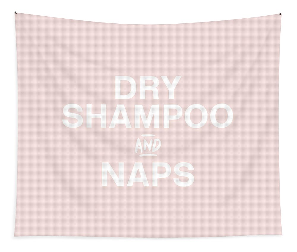 Blush Tapestry featuring the mixed media Dry Shampoo and Naps Blush- Art by Linda Woods by Linda Woods