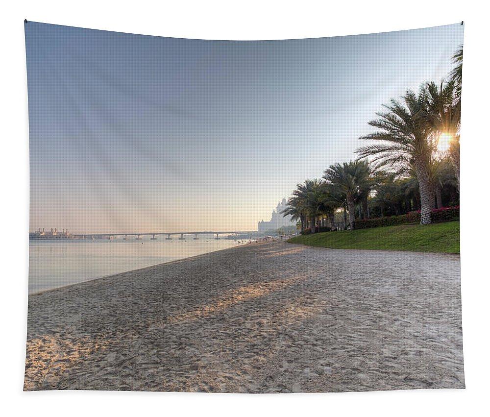 Palm Tapestry featuring the photograph Dubai Beach Sunset by David Pyatt