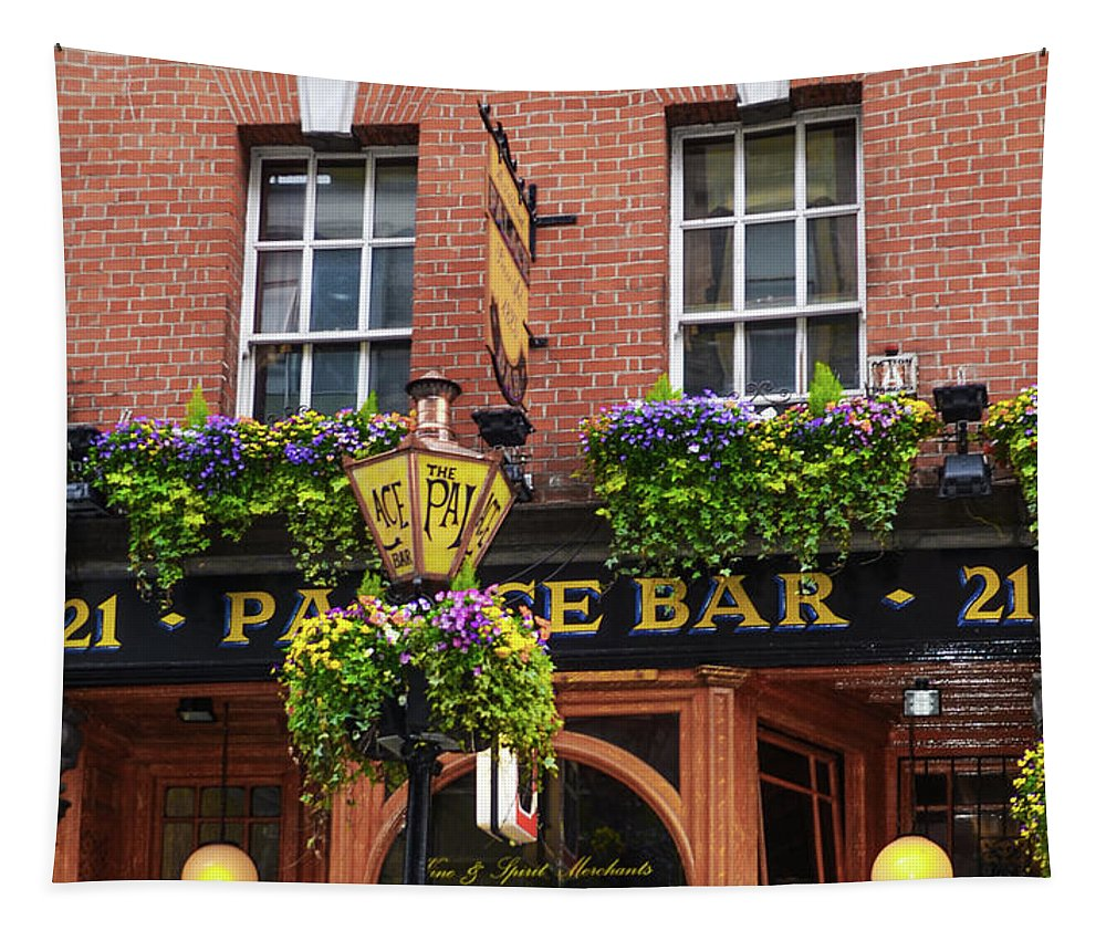 Dublin Tapestry featuring the photograph Dublin Ireland - Palace Bar by Bill Cannon