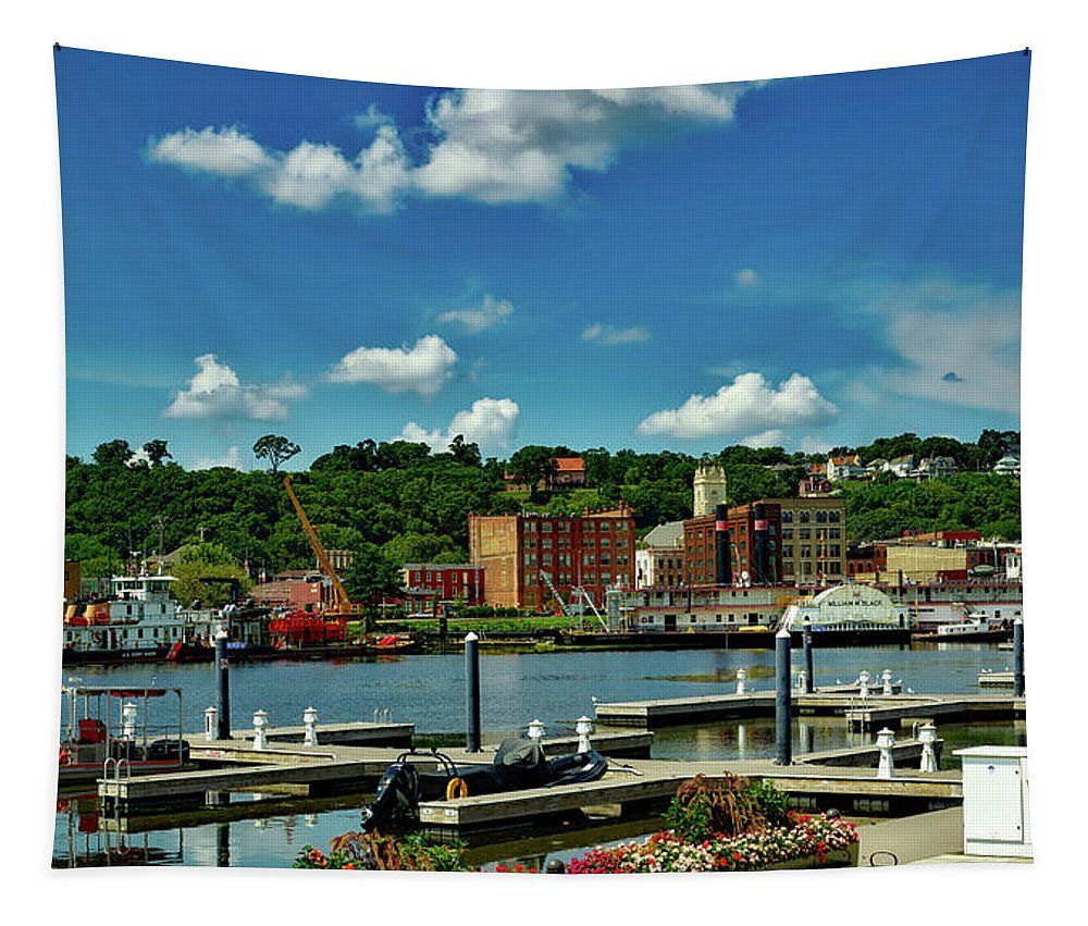 Dubuque Tapestry featuring the photograph Dubuque Harbor by Mountain Dreams