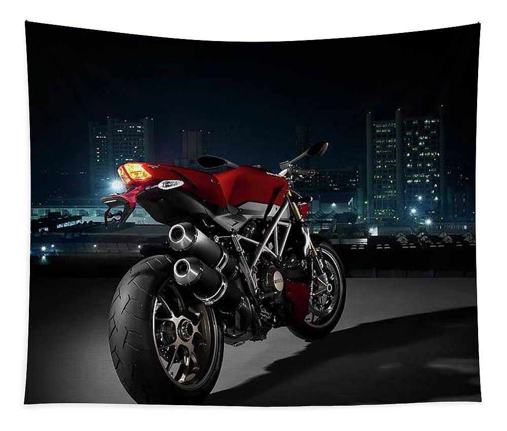 Ducati Tapestry featuring the photograph Ducati By Moonlight by Movie Poster Prints