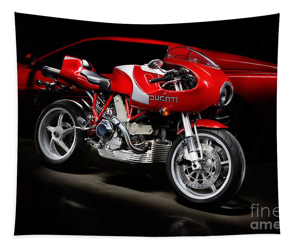 Motorcycle Tapestry featuring the photograph Ducati Mhe And Ferrari by Frank Kletschkus