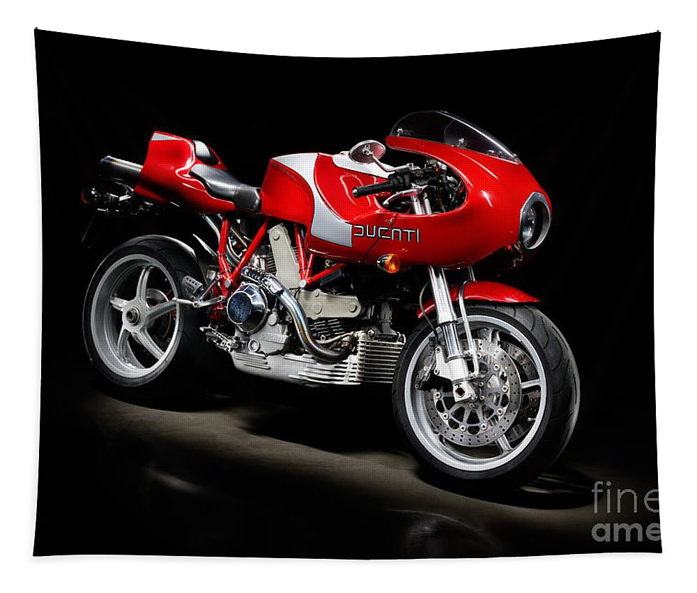 Motorcycle Tapestry featuring the photograph Ducati Mhe Mike Hailwood Evoluzione by Frank Kletschkus